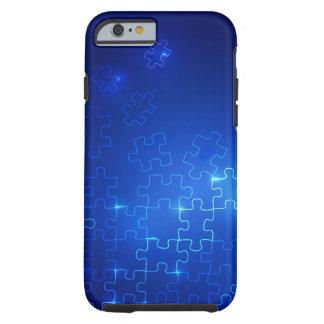 Rompecabezas azul que brilla intensamente del caso funda de iPhone 6 tough