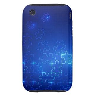 Rompecabezas azul que brilla intensamente del caso tough iPhone 3 carcasa