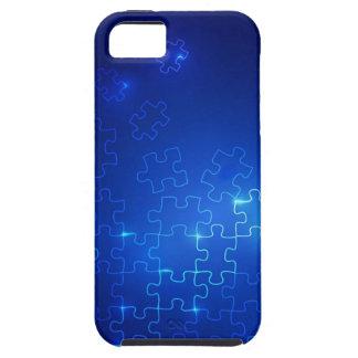 Rompecabezas azul que brilla intensamente del caso iPhone 5 Case-Mate fundas