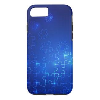 Rompecabezas azul que brilla intensamente del caso funda iPhone 7