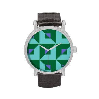 Rompecabezas azul y verde relojes de pulsera