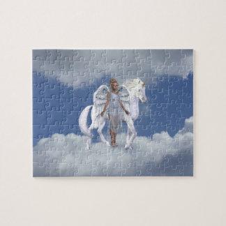 Rompecabezas blanco de la fantasía del ángel de la