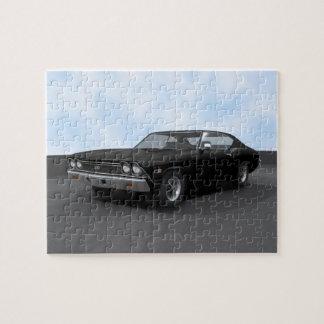 Rompecabezas: Chevelle 1968 SS: Acabado en negro Puzzle Con Fotos