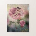 Rompecabezas color de rosa de la hada de la flor