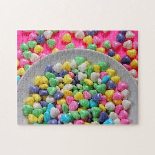 Rompecabezas colorido de la impresión de los coraz