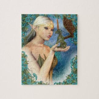 Rompecabezas con el duende de la fantasía y el dra