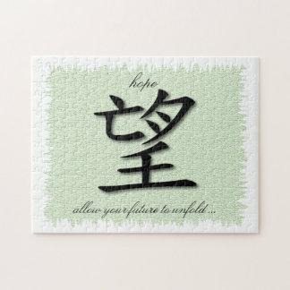 Rompecabezas con el símbolo chino para la esperanz