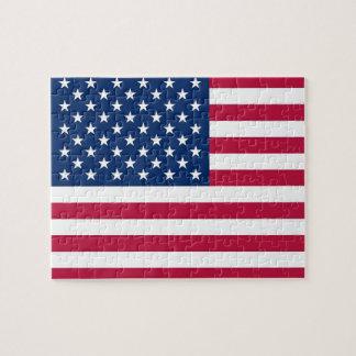 Rompecabezas con la bandera de los E.E.U.U.