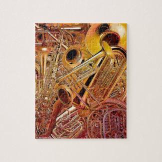Rompecabezas de cobre amarillo de la pared