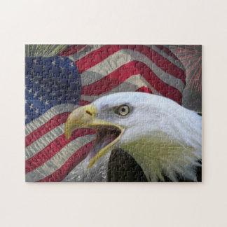 Rompecabezas de Eagle, de la bandera y de los fueg