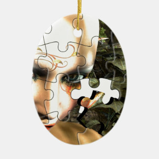 Rompecabezas de hadas del perfil adorno ovalado de cerámica