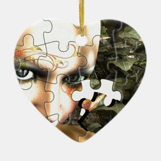 Rompecabezas de hadas del perfil adorno de cerámica en forma de corazón