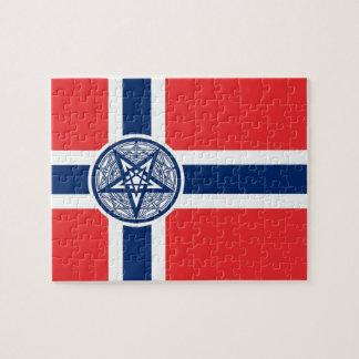 Rompecabezas de la bandera del Pentagram de Norueg