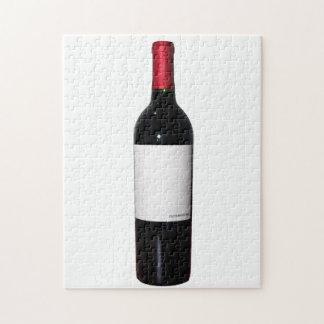 Rompecabezas de la botella de vino (etiqueta en bl