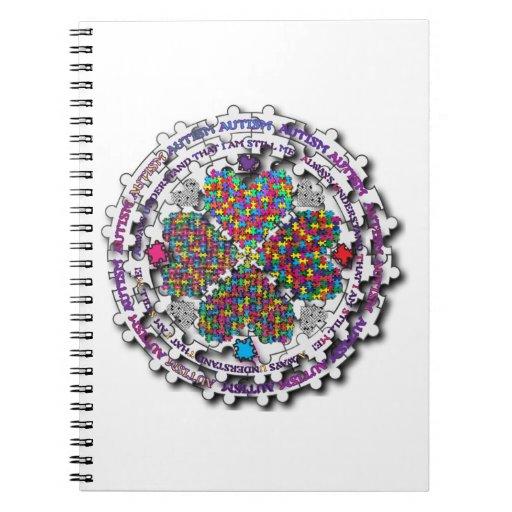 Rompecabezas de la circular del autismo libros de apuntes con espiral