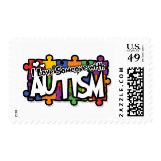 Rompecabezas de la conciencia del autismo timbres postales