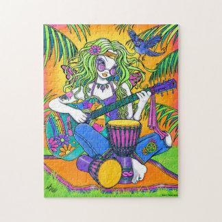Rompecabezas de la hada del Hippie de la guitarra