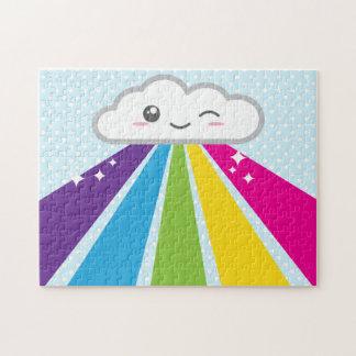 Rompecabezas de la nube y del arco iris de Kawaii