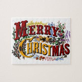 Rompecabezas de las Felices Navidad del vintage