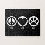 Rompecabezas de los gatos del amor de la paz
