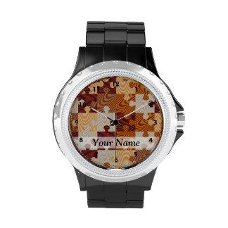 Rompecabezas de madera relojes de mano