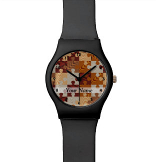 Rompecabezas de madera relojes de pulsera