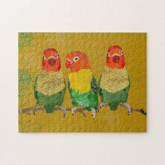Rompecabezas de oro de los pájaros del amor