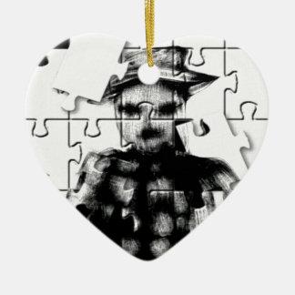 Rompecabezas de SkareKrow Adorno Navideño De Cerámica En Forma De Corazón