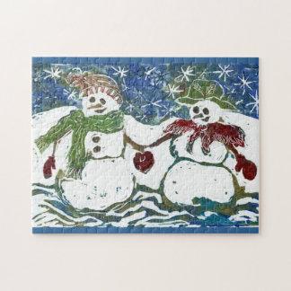 Rompecabezas de un par del muñeco de nieve - impre