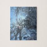 Rompecabezas de Zigsaw de los árboles de la nieve