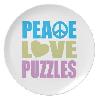 Rompecabezas del amor de la paz plato