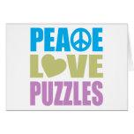 Rompecabezas del amor de la paz tarjeta