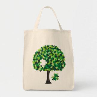 Rompecabezas del árbol de familia bolsas lienzo