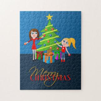 Rompecabezas del árbol de Navidad de las Felices