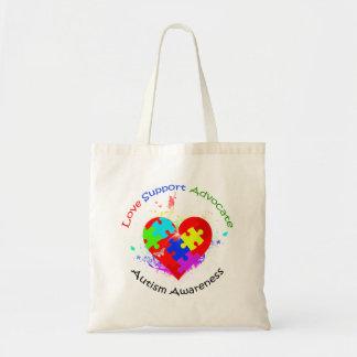 Rompecabezas del autismo en corazón bolsa de mano