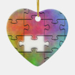 Rompecabezas del autismo - ornamento del corazón ornamento para reyes magos