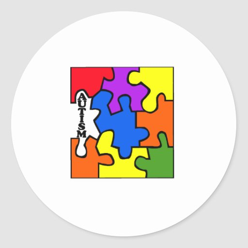 Rompecabezas del autismo pegatina redonda