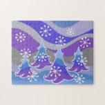 Rompecabezas del azul de los árboles del invierno
