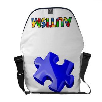 Rompecabezas del azul del bolso de la conciencia d bolsas de mensajería