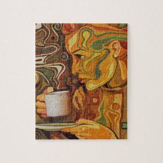 Rompecabezas del café o del té con la caja de rega