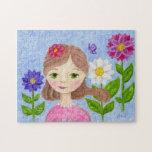 Rompecabezas del chica del jardín de flores