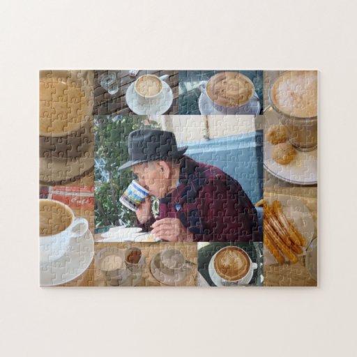 Rompecabezas del collage del tiempo del café