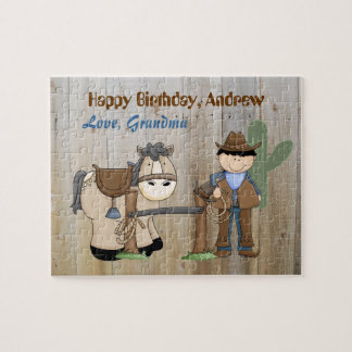 Rompecabezas del cumpleaños del caballo del vaquer