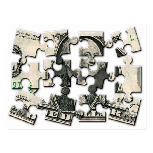 Rompecabezas del dólar postales