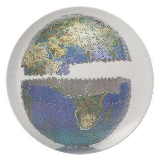 Rompecabezas del globo platos