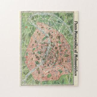 rompecabezas del mapa de París del vintage