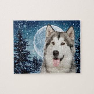 Rompecabezas del perro esquimal de la luna del