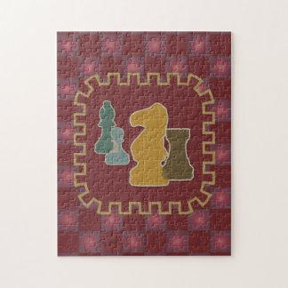 Rompecabezas del rojo de los pedazos de ajedrez