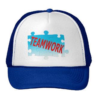 Rompecabezas del trabajo en equipo gorras de camionero