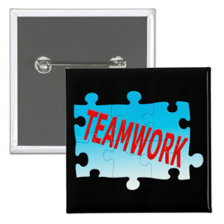 Rompecabezas del trabajo en equipo pin cuadrado